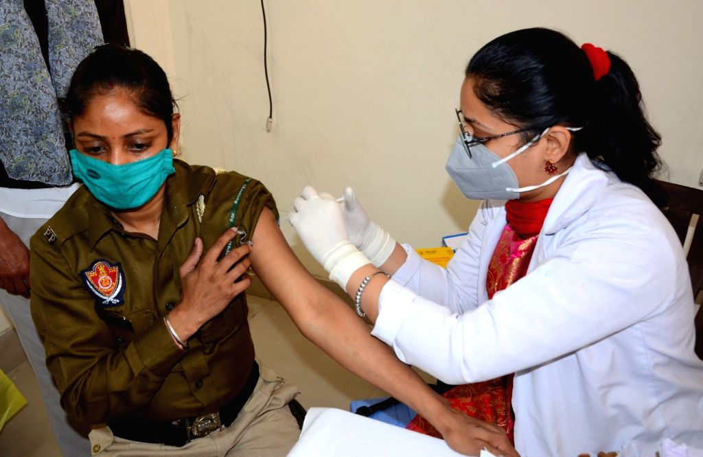 A medical worker prepares to inoculate people with a Covid-19 coronavirus vaccine at a hospital in Amritsar on Monday 01st March, 2021.