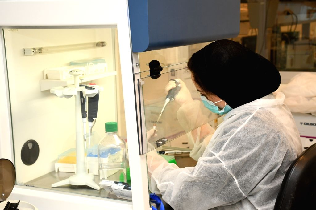 A medical worker uses a test kit to diagnose COVID-19 virus in Rabat, Morocco, on Sept. 11, 2020. Morocco on Friday reported 2,430 new COVID-19 cases, the biggest ...
