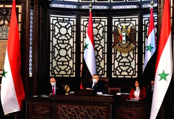 A meeting of the Syrian parliament is held in Damascus, capital of Syria, on April 18, 2021.