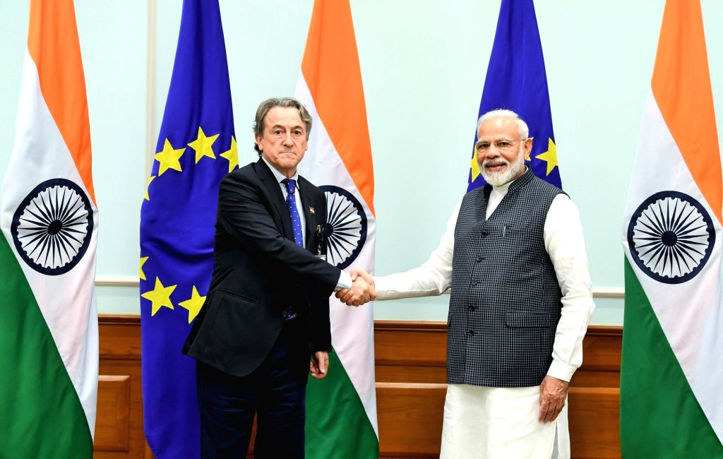 A member of the European Parliament calls on Prime Minister Narendra Modi in New Delhi on Oct 28, 2019. - Narendra Modi