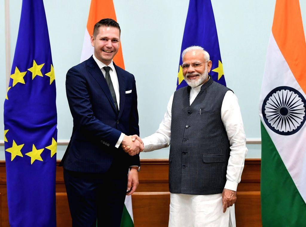 A member of the European Parliament calls on Prime Minister Narendra Modi in New Delhi on Oct 28, 2019. - Narendra Modi