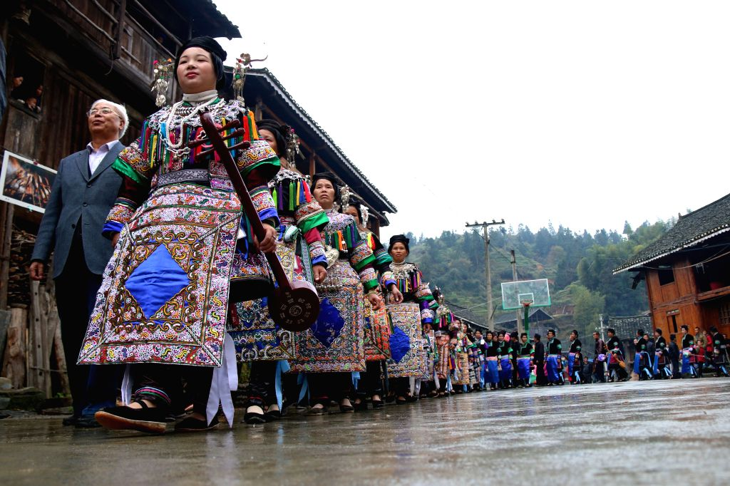 A memorial ceremony is held by people of Dong ethnic group for extraordinary ancient Chinese carpenter, engineer and inventor Lu Ban, in Liping County, Qiandongnan ...