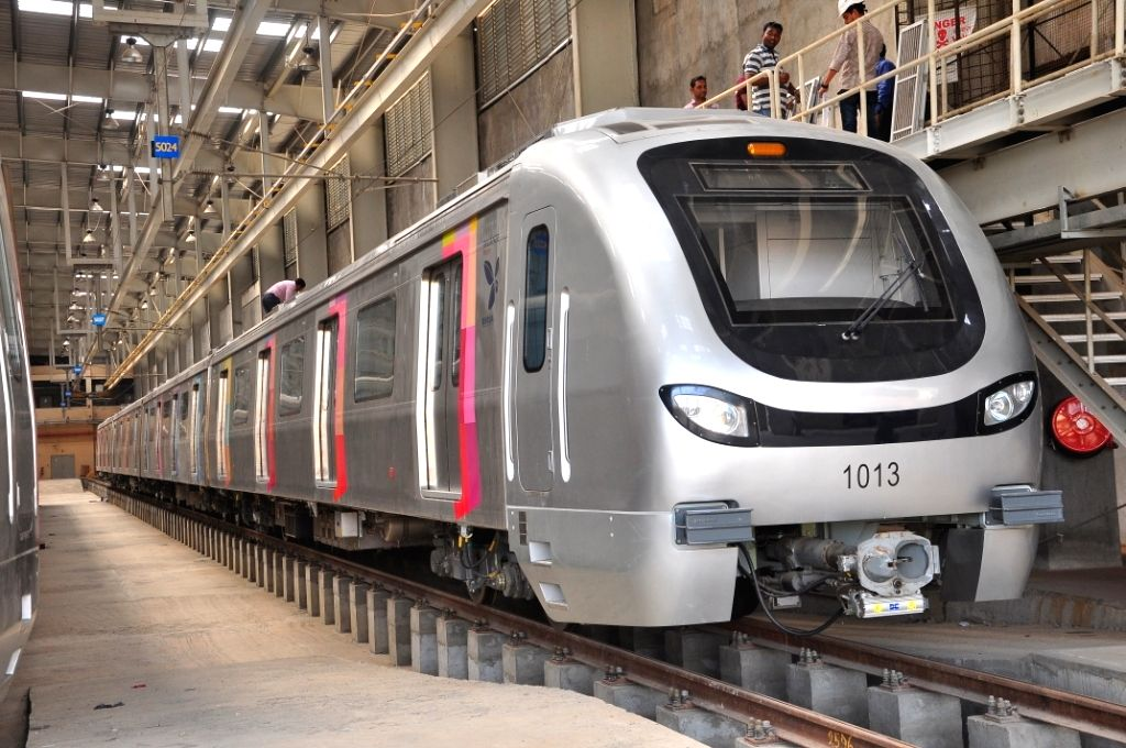 A metro rake at the metro depot at D.N. Nagar in Mumbai on June 7, 2019. The Reliance Infratructure-promoted Mumbai Metro One celebrates completion of a milestone five years of accident-free ...