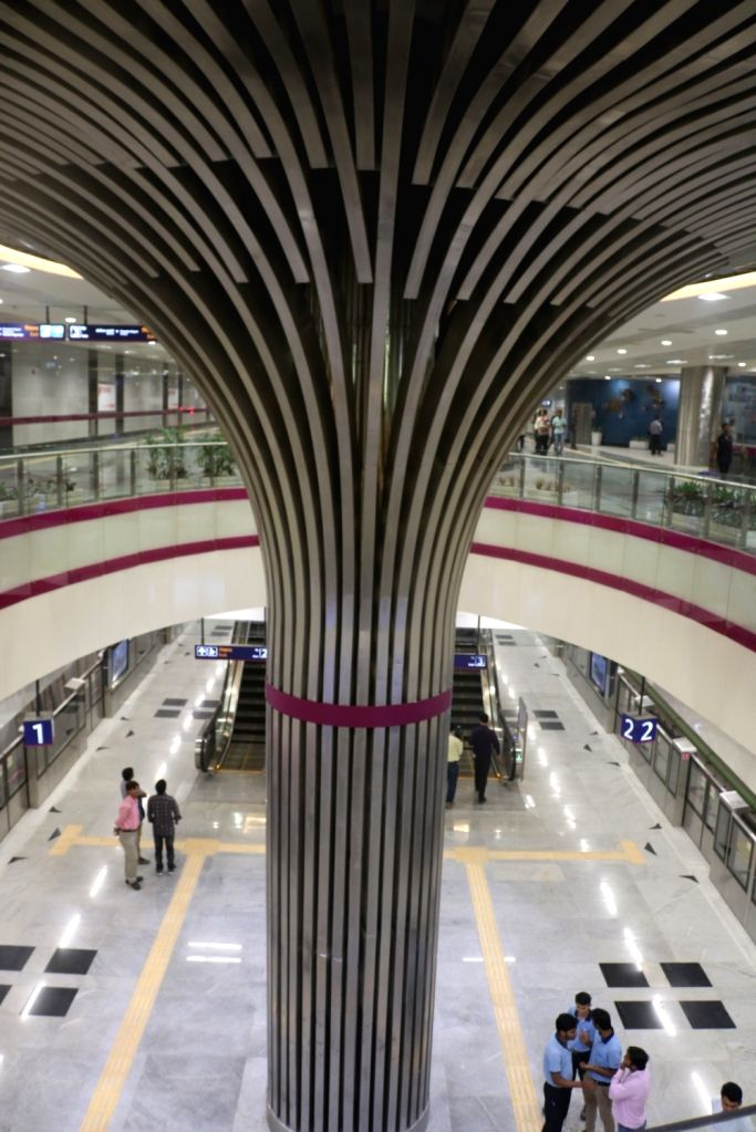 A metro station on Delhi metro's magenta line that is scheduled to be thrown open to the public on May 29, in New Delhi on May 24, 2018.