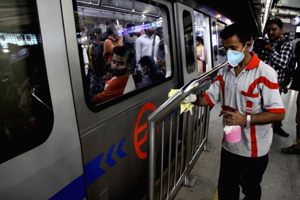 A metro sweeping staff during a cleaning drive launched as a preventive measure against Coronavirus (Covid-19), in New Delhi on March 13, 2020.