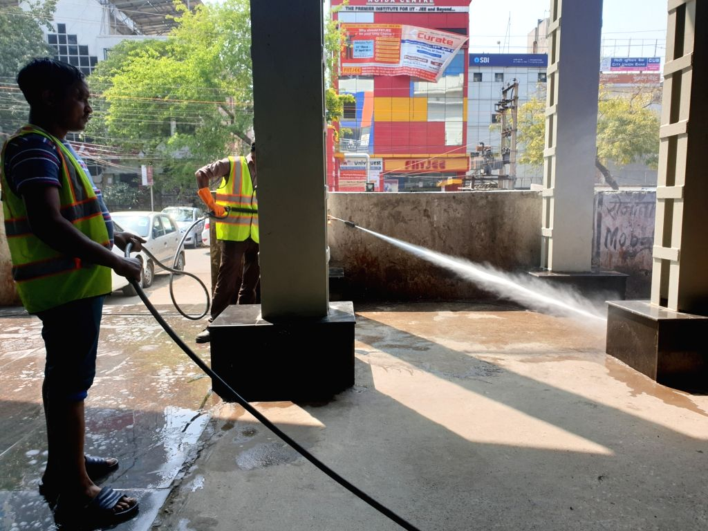 A metro sweeping staff during a cleaning drive launched as a preventive measure against Coronavirus (Covid-19), in New Delhi on March 19, 2020.