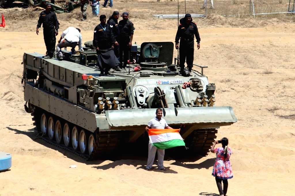 A military tank on display during DefExpo 2018 in Chennai on April 8, 2018.