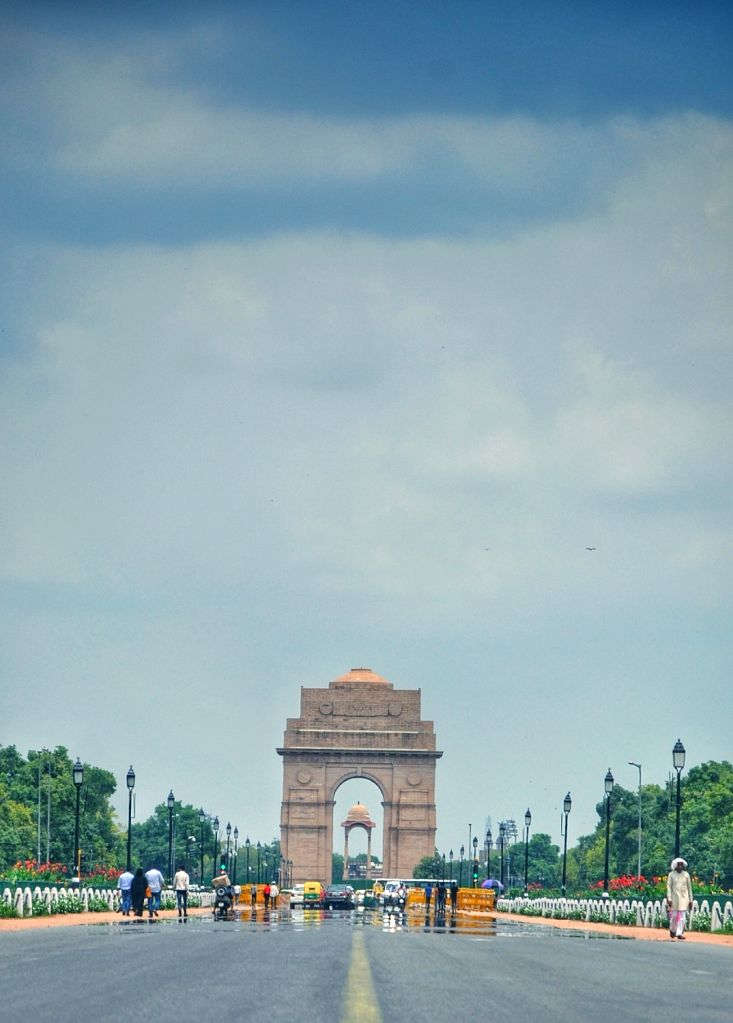 A mirage seen on Rajpath on a hot day in New Delhi on July 17, 2018.
