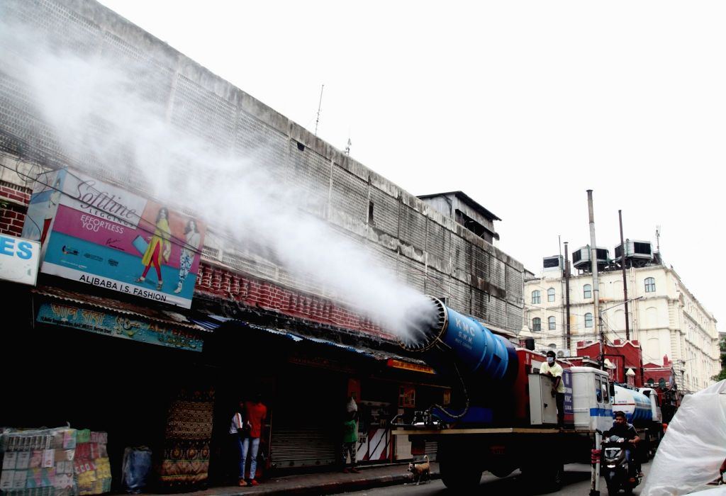 A mist cannon was used to sanitize the road due to increasing numbers of COVID 19 cases in Kolkata 13 May, 2021.