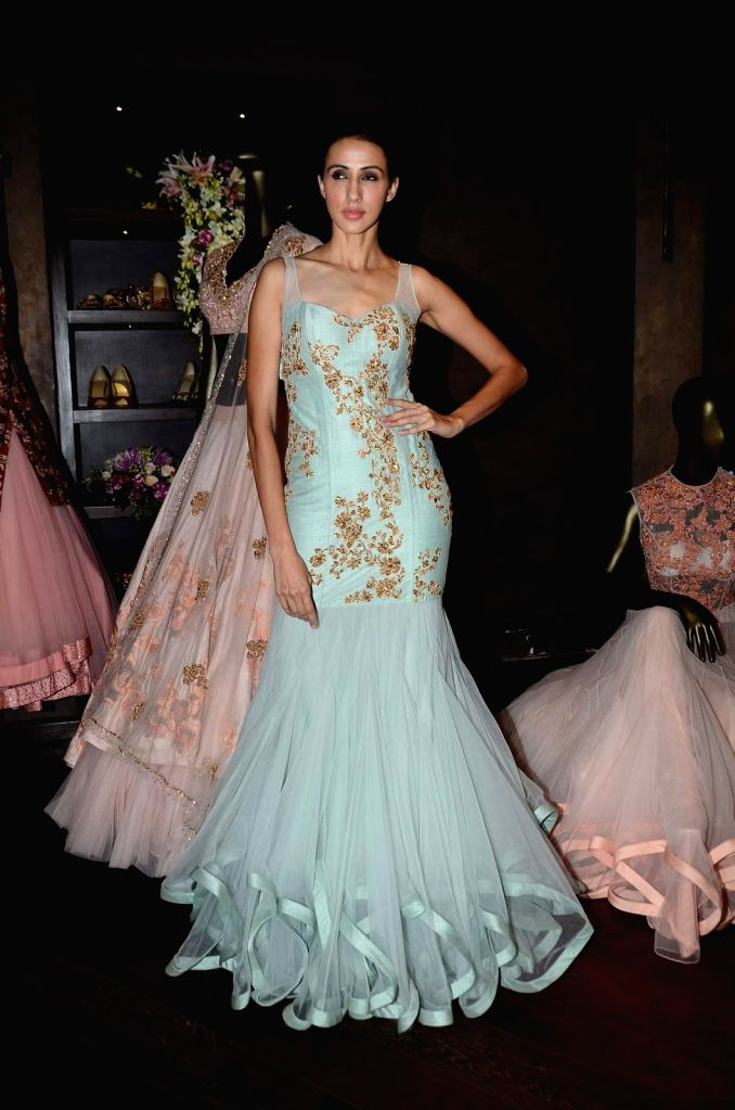 A model at designers Shyamal and Bhumika`s store during their new wedding line launch in Mumbai, on Aug 13, 2015.