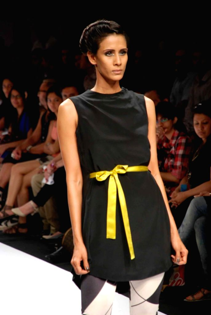 A Model at the ramp for Designer Anand Kabra at the Lakme fashion week 2009.