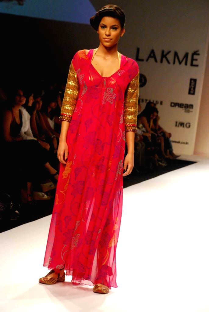 A Model at the ramp for Designer Anupama Dayal at the Lakme fashion week 2009.