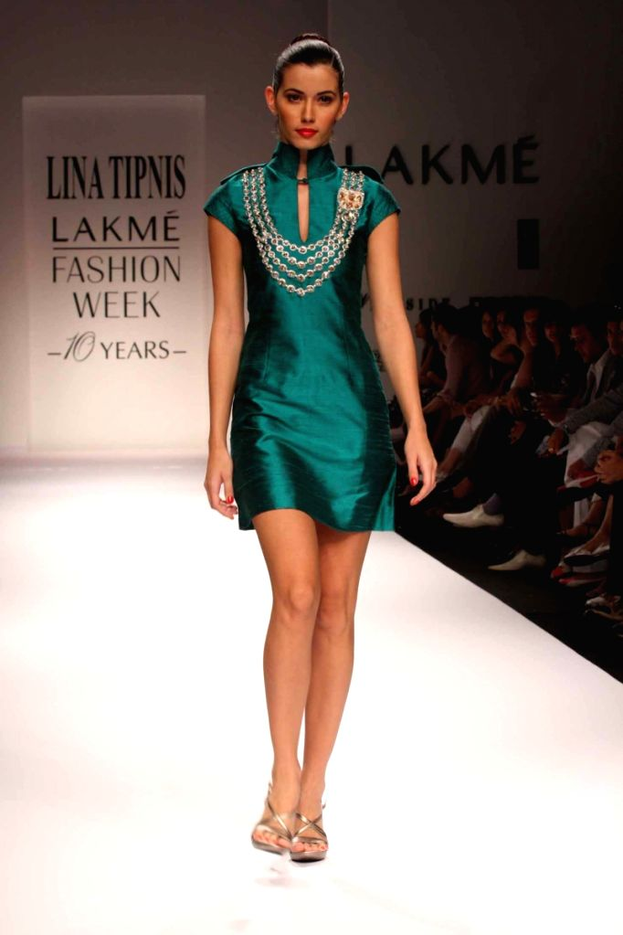 A Model at the ramp for Designers Lina Tipnis & Archana Kochhar at the Lakme fashion week for Fall Winter 2009.