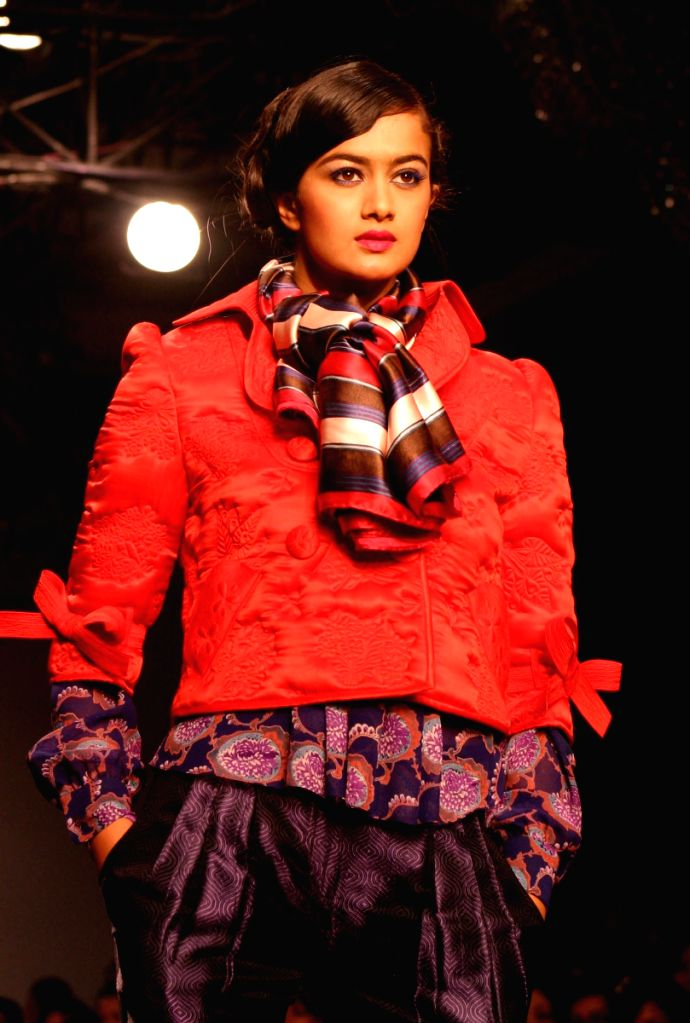A model display creation by designers Pankaj and Nidhi at Wills Lifestyle India Fashion Week in New Delhi on March 19.