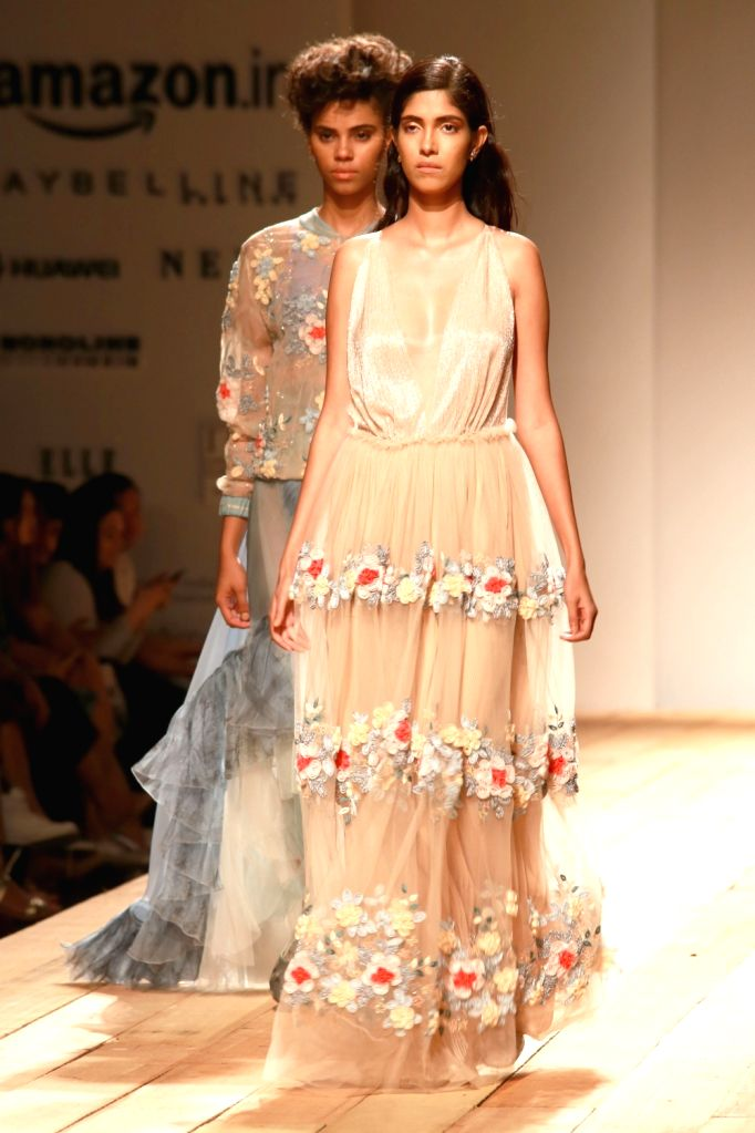 A model displays the creation of fashion designers Pallavi Mohan during the Amazon India Fashion Week Spring/Summer 2017 in New Delhi on Oct 15, 2016.