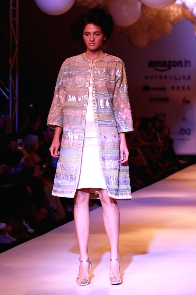 A model displays the creation of fashion designers Pankaj and Nidhi during the Amazon India Fashion Week Spring/Summer 2017 in New Delhi on Oct 15, 2016.