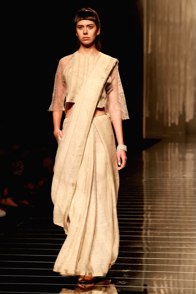 A model displays the creation of fashion designer Anavila Misra during the Amazon India Fashion Week Spring/Summer 2017 in New Delhi on Oct 13, 2016.