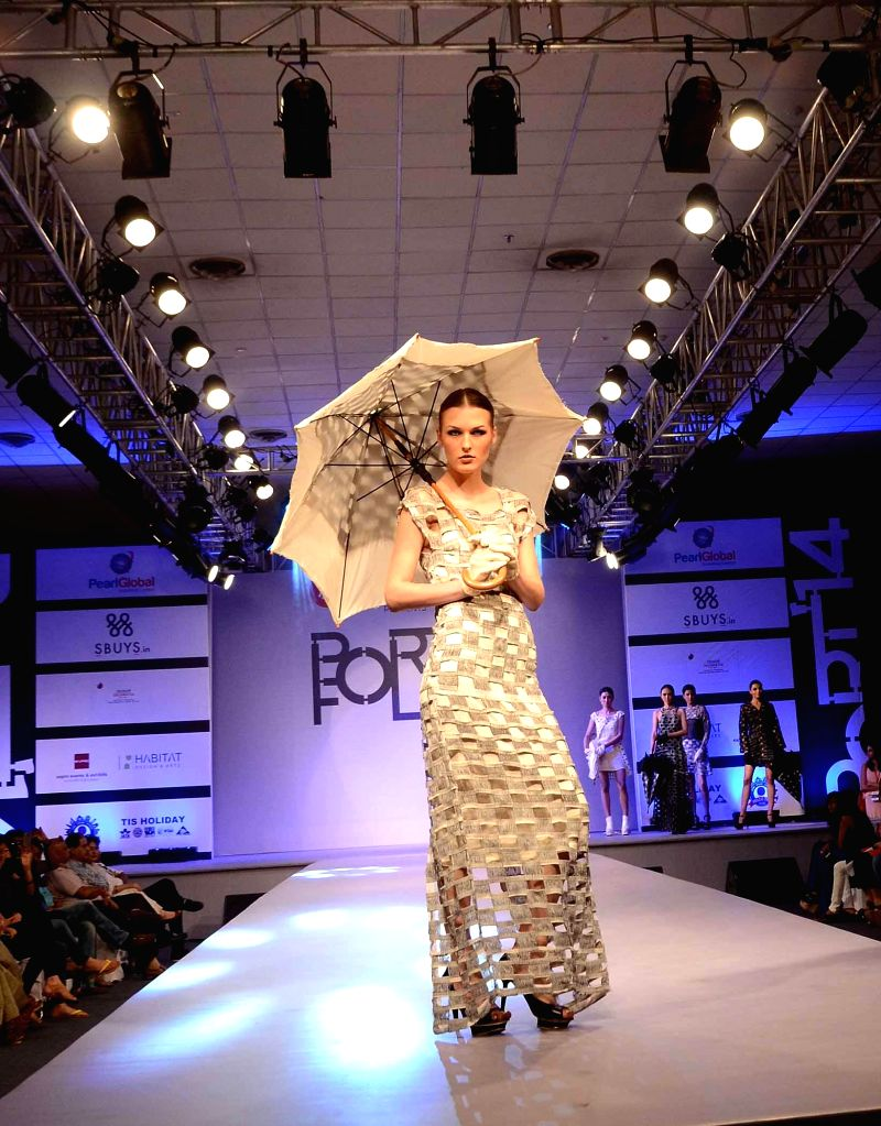 A model during a fashion show organised in New Delhi on May 9, 2014.