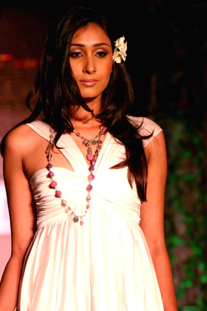 A Model on the ramp at the launch of L'OREAL's Eco-Sensitive brand Serie Nature in New Delhi on Friday.