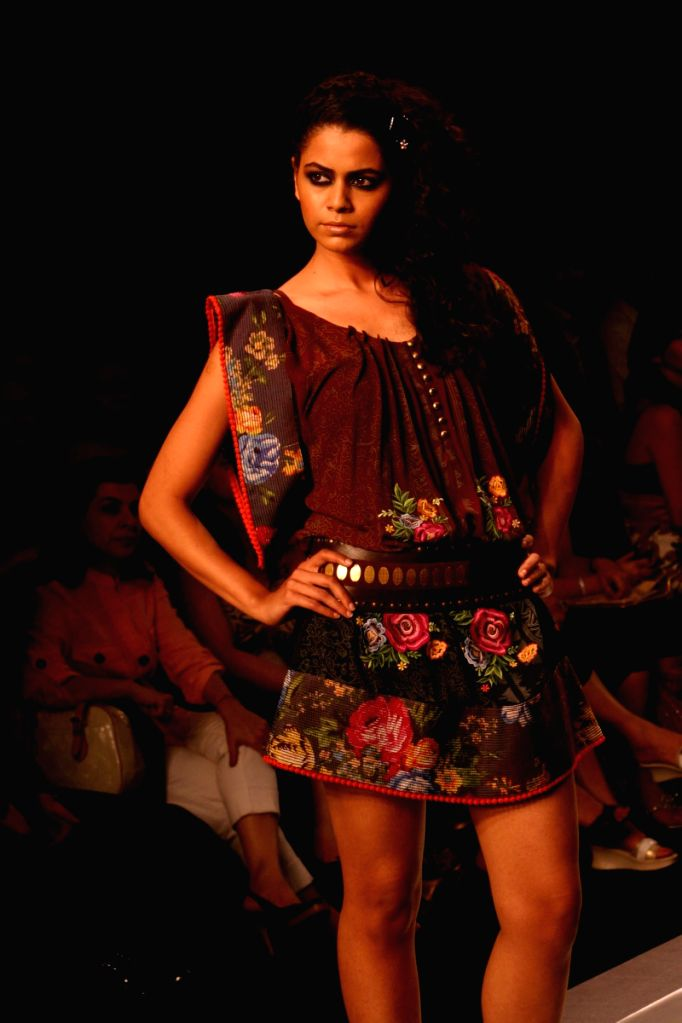 A model on the ramp for designer Kavita Bhartiyal at Wills Lifestyle India Fashion Week in New Delhi on March 19.