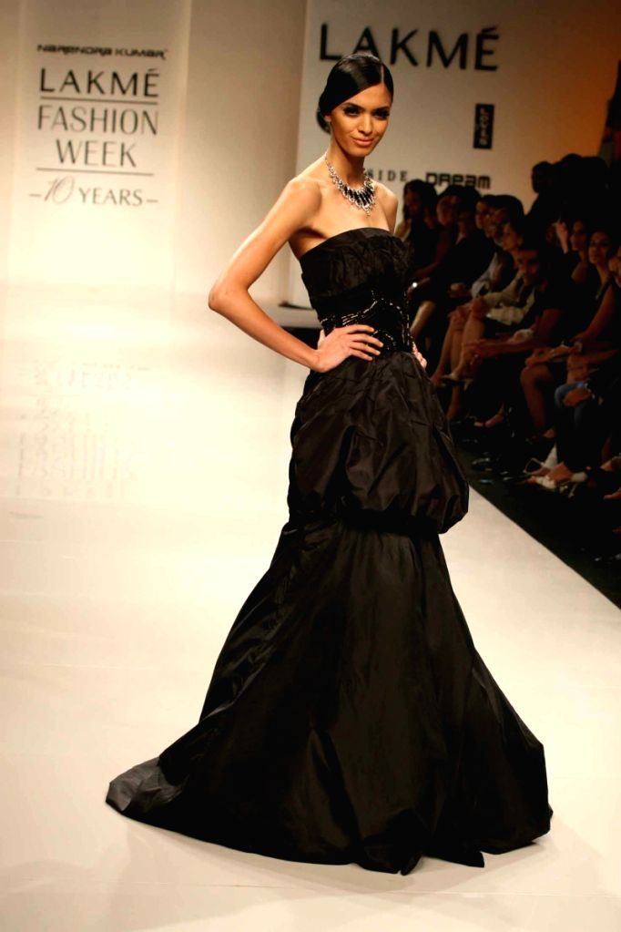 A Model on the ramp for Designer Narendra Kumar Ahmed at the Lakme fashion week 2009.