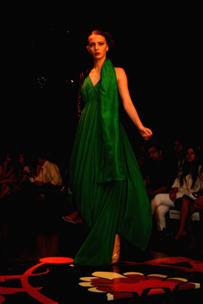 A model on the ramp for designer Rathor Jodhpur at Wills Lifestyle India Fashion Week in New Delhi on March 20.
