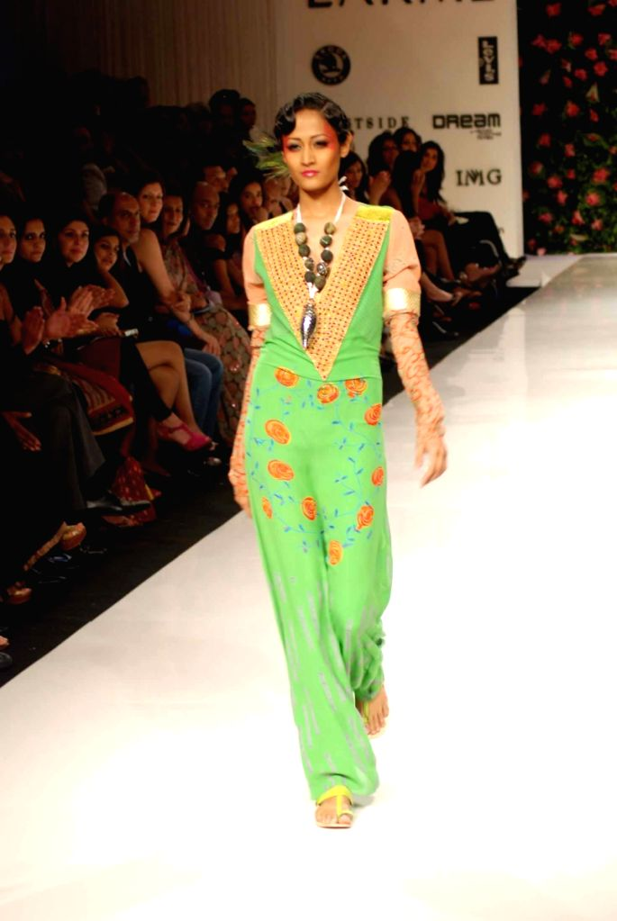 A model on the ramp for 'Mai Mumbai' Show at Lakme fashion week 2009.