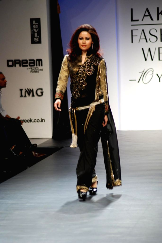 """A model on the ramp for """"Vikram Phadnis show"""" at Lakme Fashion Week 2009."""