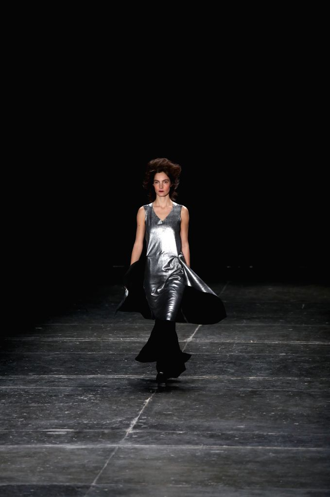 """A model presents a creation of the winter collection by """"Uma Raquel Davidowicz"""", during the Sao Paulo Fashion Week, in Sao Paulo, Brazil, on Oct. 19, ..."""