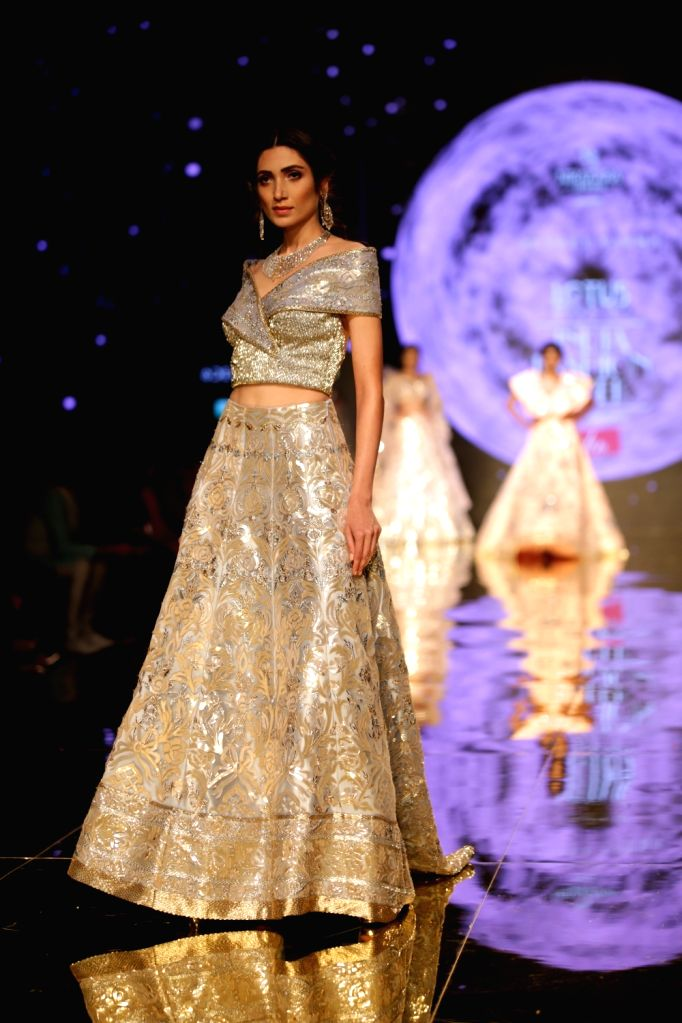 A model showcases a creation of fashion designer Suneet Varma on the second day of Lotus India Fashion Week in New Delhi, on March 14, 2019.