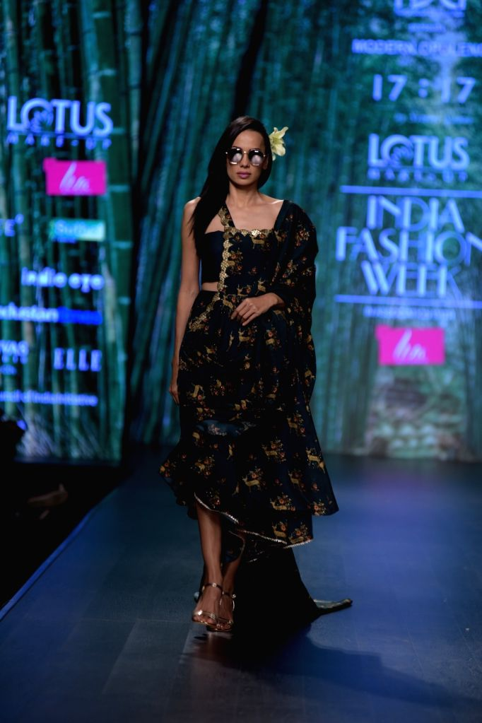 A model showcases a creation of fashion designer Simmi Saboo on the third day of Lotus India Fashion Week in New Delhi, on March 15, 2019.