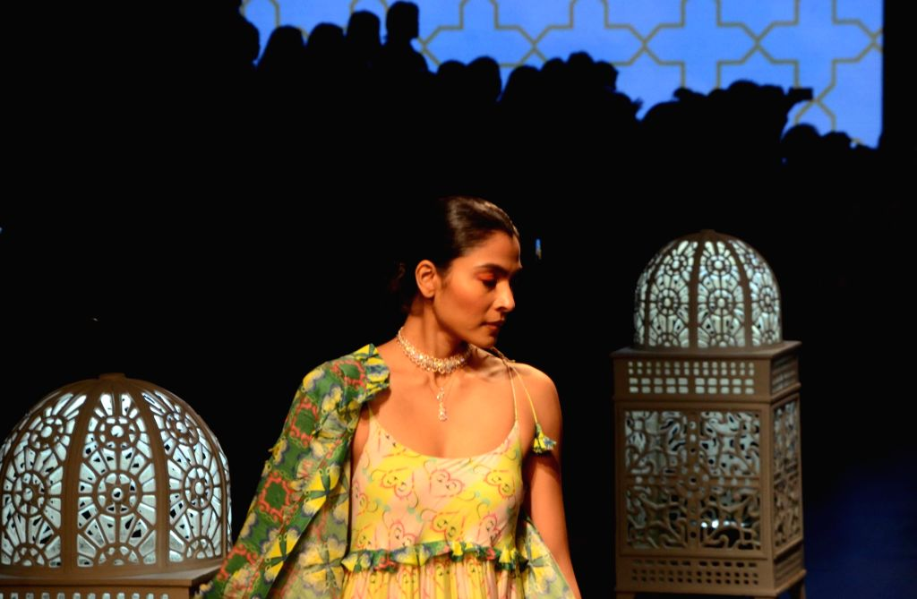 A model showcases fashion designer Anjali Patel Mehta's creation during Lakme Fashion Week (LFW) Summer/Resort 2019 in Mumbai, on Feb 2, 2019. - Anjali Patel Mehta