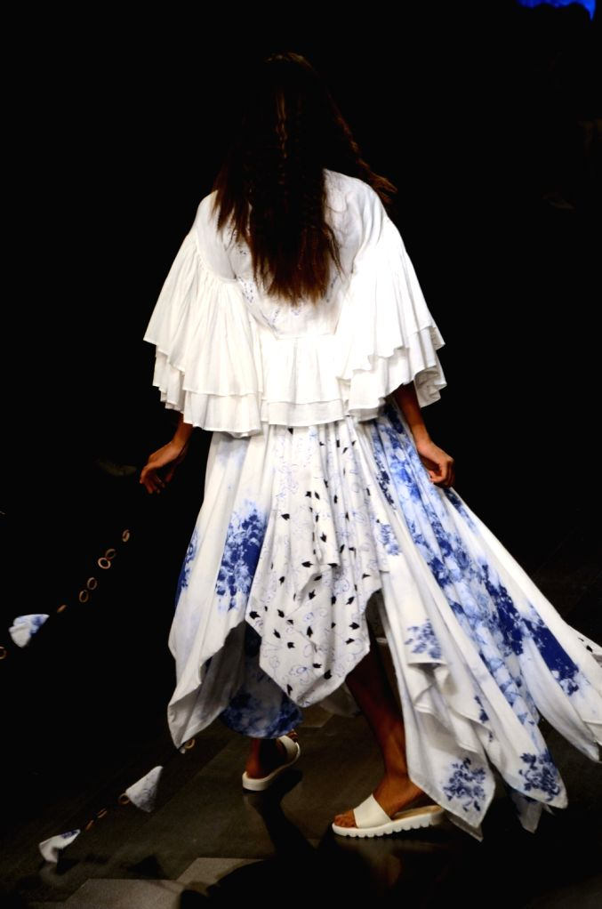 A model showcases fashion designer Mohammed Mazhar's creation during Lakme Fashion Week (LFW) Summer/Resort 2019 in Mumbai, on Feb 2, 2019.