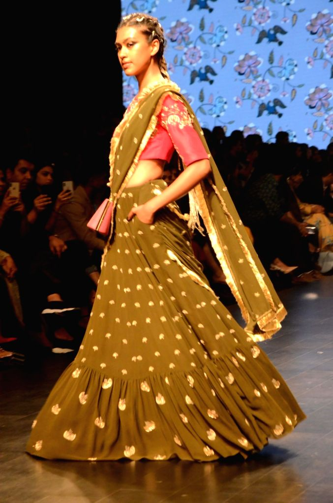 A model showcases fashion designer Payal Singhal's creation during Lakme Fashion Week (LFW) Summer/Resort 2019 in Mumbai, on Feb 1, 2019.