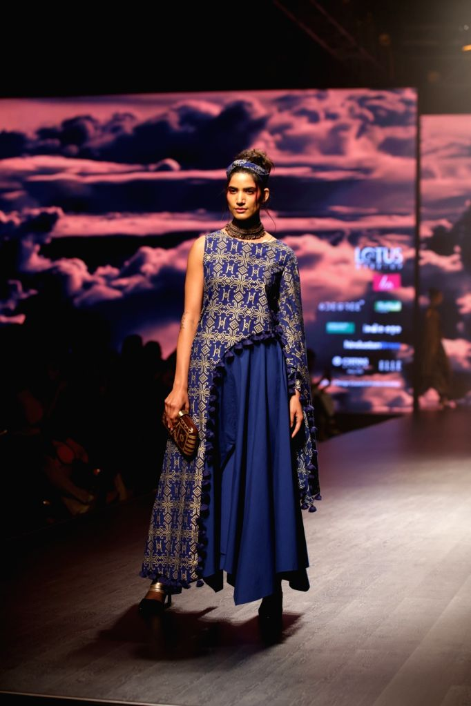 A model showcases fashion designer Pooja Shroff's creation on the second day of Lotus India Fashion Week in New Delhi, on March 14, 2019.