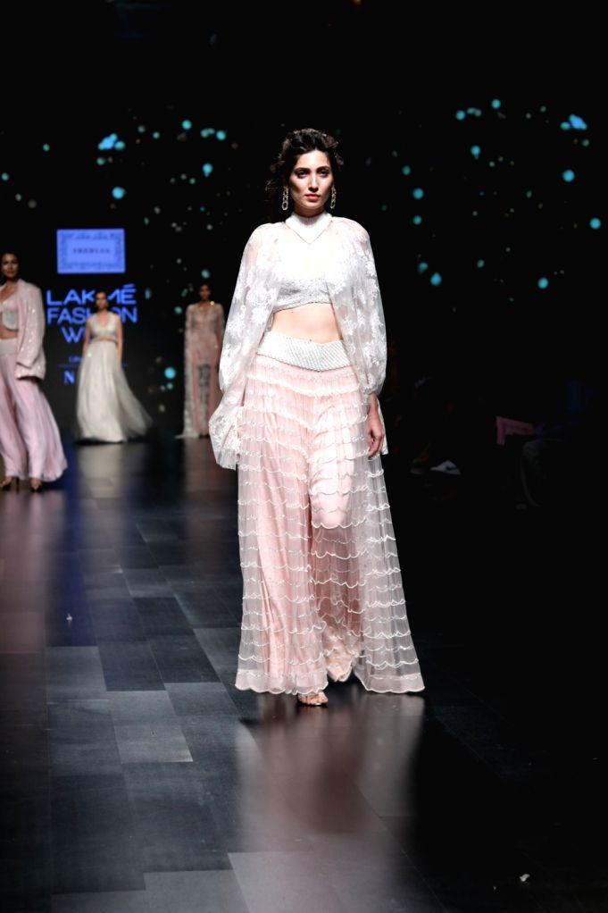A model showcases fashion designer Shehla Khan's creation during Lakme Fashion Week (LFW) Summer/Resort 2019 in Mumbai, on Feb 3, 2019. - Shehla Khan