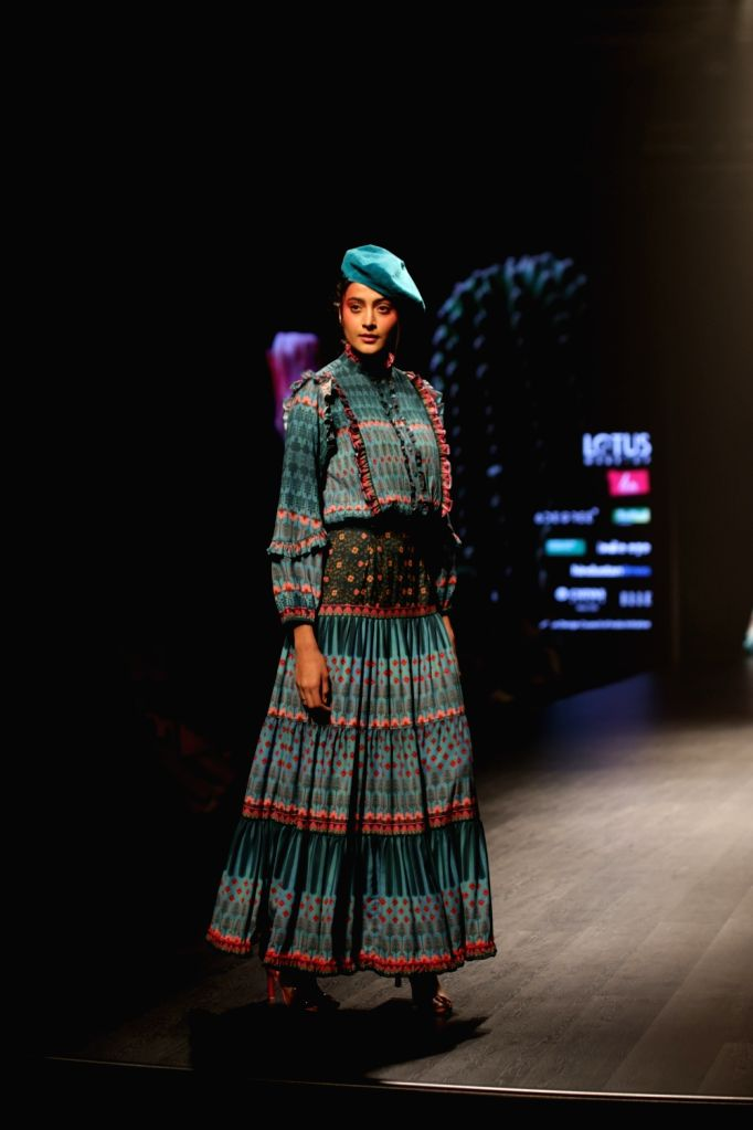 A model showcases fashion designer Siddhartha Bansal's creation on the second day of Lotus India Fashion Week in New Delhi, on March 14, 2019.