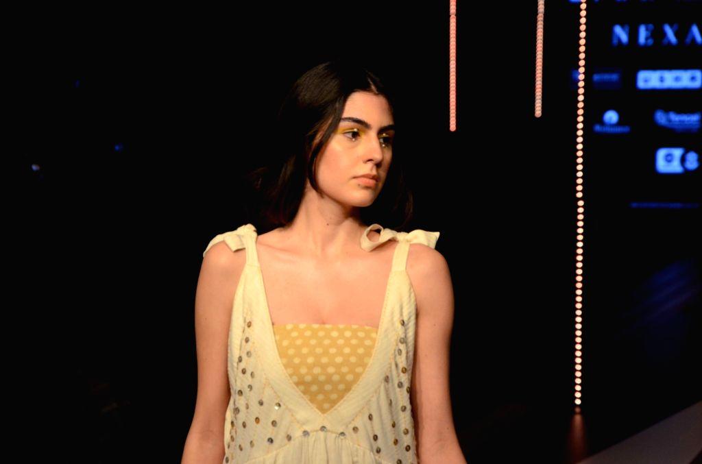 A model showcases fashion designer Suniana Khera's creation at the Gen Next edition during Lakme Fashion Week (LFW) Summer/Resort 2019 in Mumbai, on Jan 30, 2019.