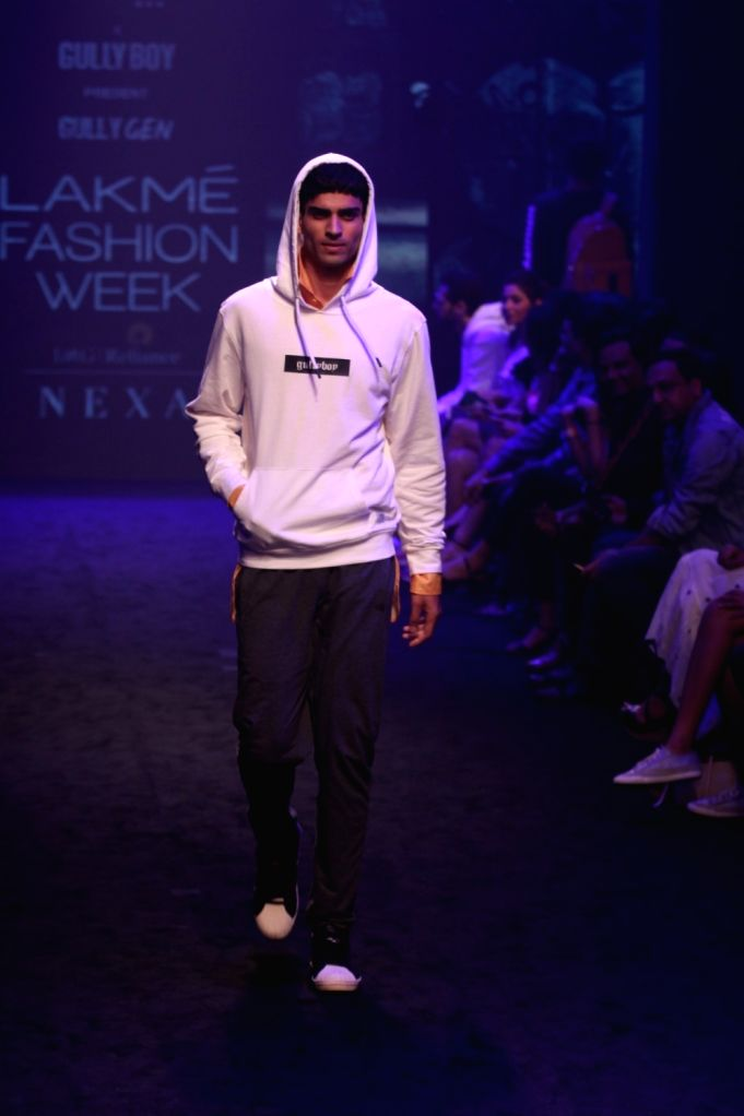 A model showcases Gully Gen's collection during Lakme Fashion Week (LFW) Summer/Resort 2019 in Mumbai, on Feb 3, 2019.