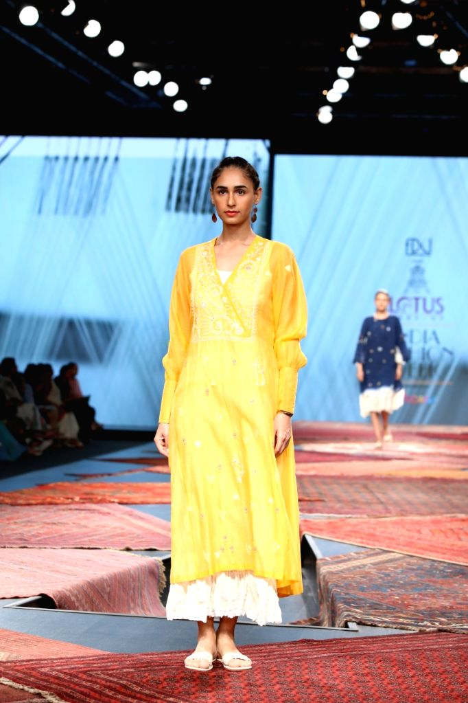 A model showcases the collection from fashion designer Pratima Pandey's fashion label Prama on the first day of Lotus India Fashion Week, in New Delhi on Oct 9, 2019. - Pratima Pandey