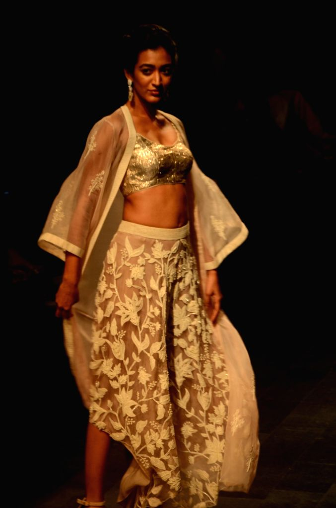 A model showcases the creation of fashion designer Swapna Anumolu's label Mishru during the Lakme Fashion Week (LFW) Summer/Resort 2019 in Mumbai on Feb 3, 2019.