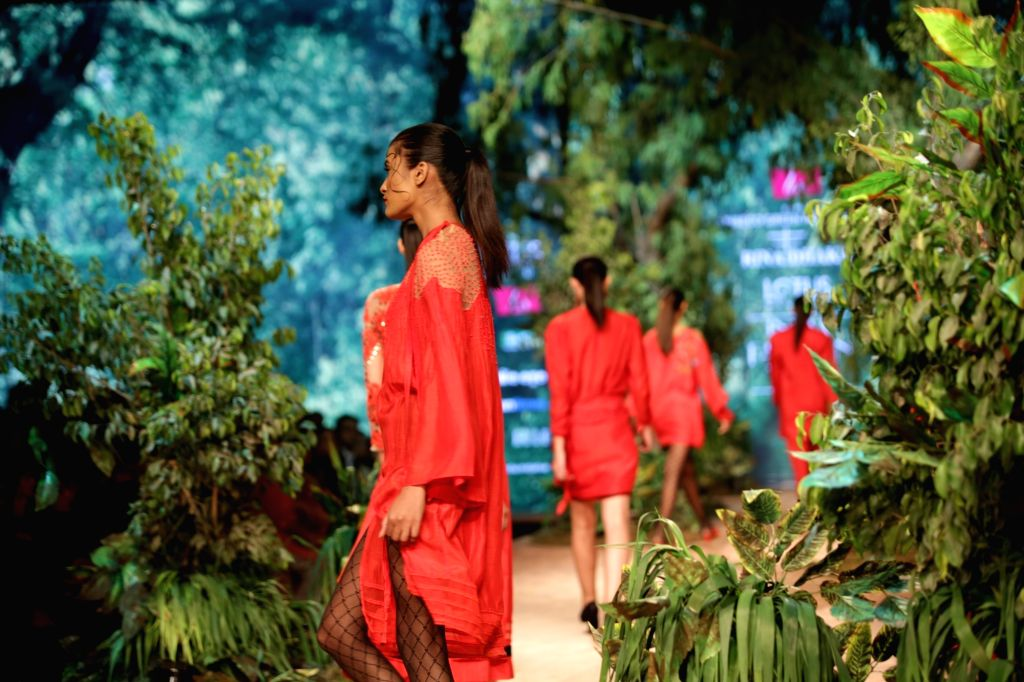A model showcases the creation of fashion designer Rina Dhaka on the opening day of Lotus India Fashion Week in New Delhi, on March 13, 2019.