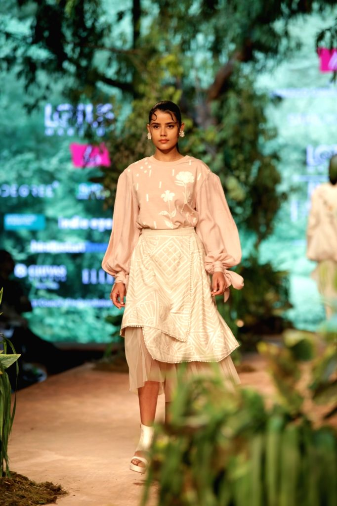 A model showcases the creation of fashion designer Sahil Kochhar on the opening day of Lotus India Fashion Week in New Delhi, on March 13, 2019.