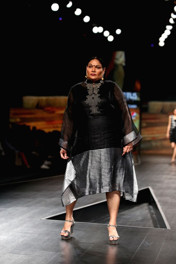 A model showcases the creation of fashion designers Rahul Anand and Anushka Laul on the third day of Lotus Make-up India Fashion Week, in New Delhi on Oct 11, 2019.