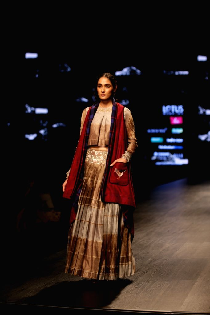 A model showcases the creations of fashion designer Pratima Pandey on Day 1 of Lotus India Fashion Week in New Delhi, on March 13, 2019. - Pratima Pandey