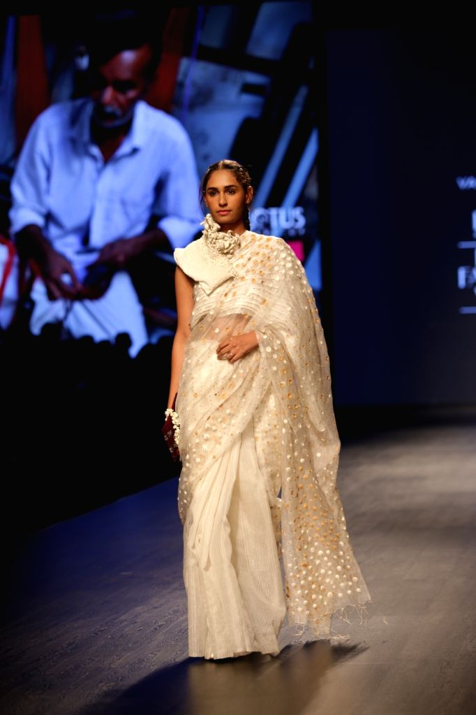 A model showcases the creations of fashion designer Vaishali Shadangule on Day 1 of Lotus India Fashion Week in New Delhi, on March 13, 2019.