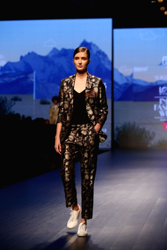 A model showcases the creations of fashion designer Suketdhir on Day 1 of Lotus India Fashion Week in New Delhi, on March 13, 2019.