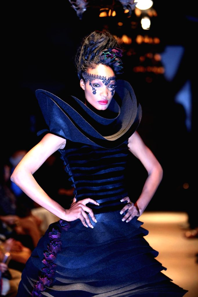 A Model showcasing Rohit Bal's creations at the Grand Finale of Delhi Fashion Week in the capital on Monday Night.