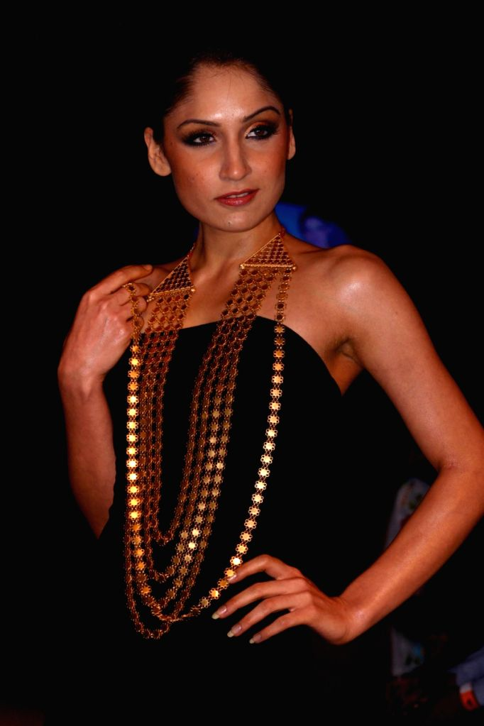 """A Model showcasing Tribal Jewellery collection by """"Adi- Kriti"""", in New Delhi on Wednesday night 4 June 2009."""