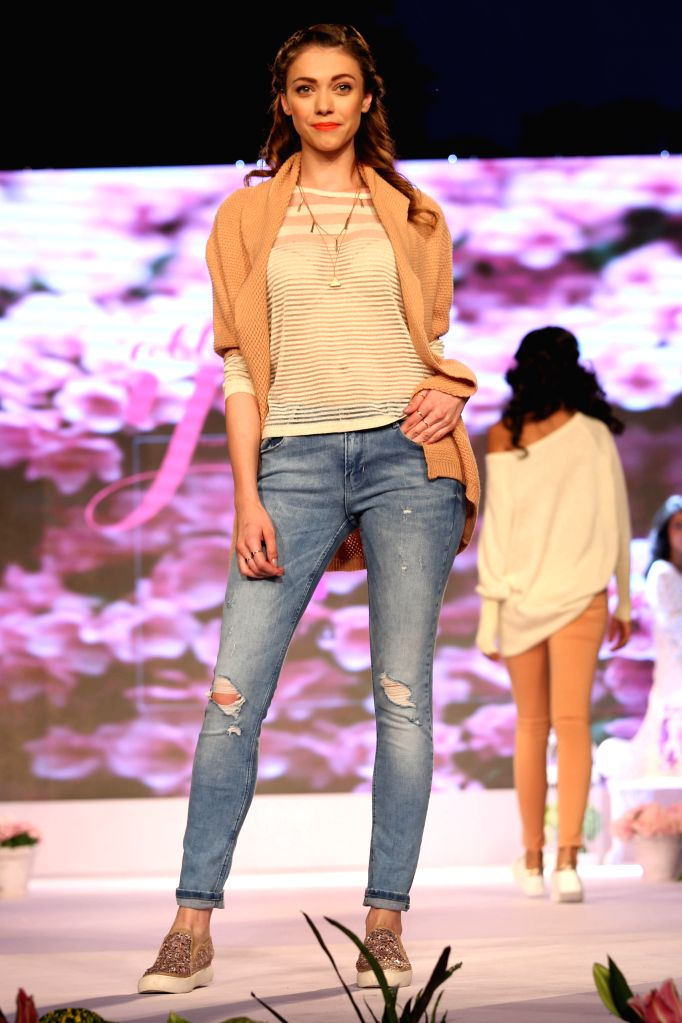 A model walks the ramp at the launch of an apparel brand in New Delhi, on Oct 20, 2015.